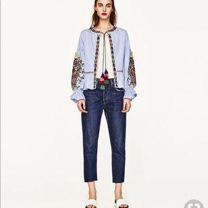NWOT Zara embroidered lantern sleeves blazer